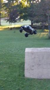Traxxas Slash comming off jump